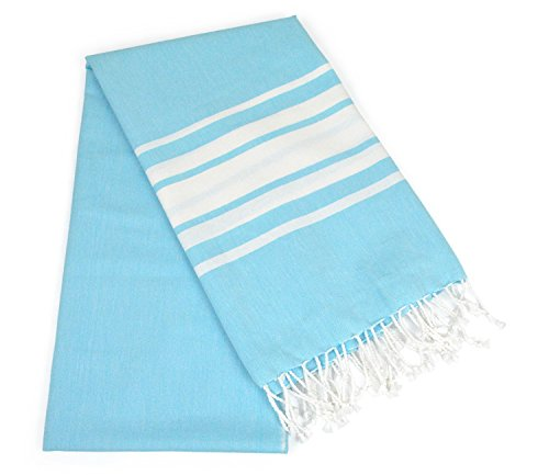 DII Peshtemal Turkish Super Soft, Absorbent, Oversized Bath Towel, Throw, & Blanket Fringe For Chair, Couch, Picnic, Camping, Beach, Yoga, Pilates, & Everyday Use , 39 x 71 - Aqua Variagated Stripe