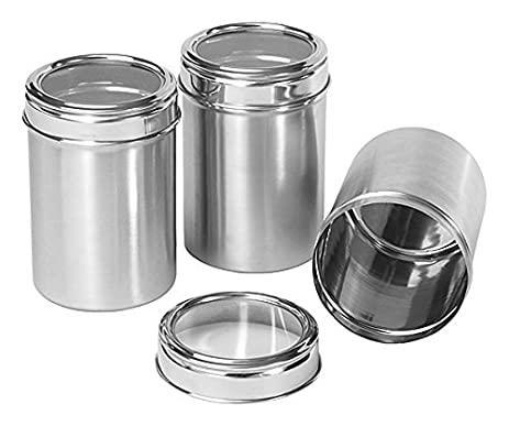 Dynamic Store Stainless Steel Kitchen Storage Canisters (Dabba) With See  Through Lid Set Of