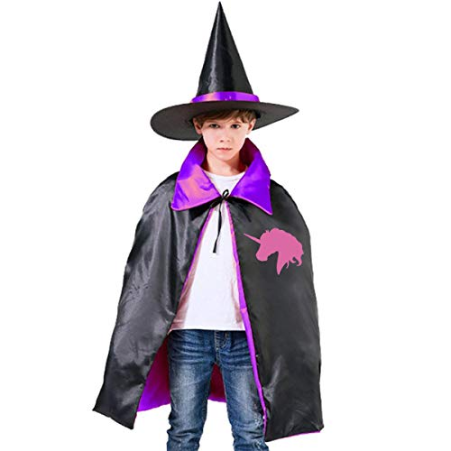 Pink Witch Hat Spiral - GLSEY Pink Unicorn Polo Horse Halloween Costumes Witch Wizard Cape with Hat for Kids Boys Girls