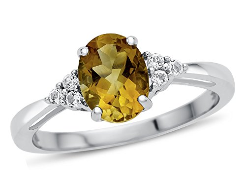 Finejewelers 10k White Gold 8x6mm Oval Citrine and White Topaz Ring Size 7