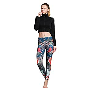 MUMUWU Women Yoga Pants Printed High Waist Power Flex Capris Workout Leggings for Fitness Running