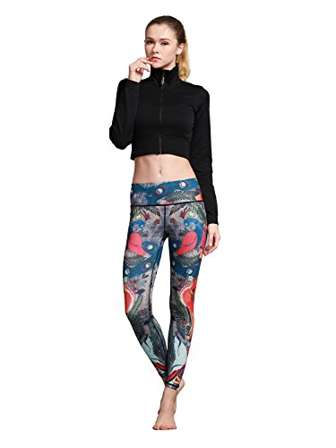 MUMUWU Women Yoga Pants Printed High Waist Power Flex Capris Workout Leggings for Fitness Running Peacock - Printed Pants Yoga