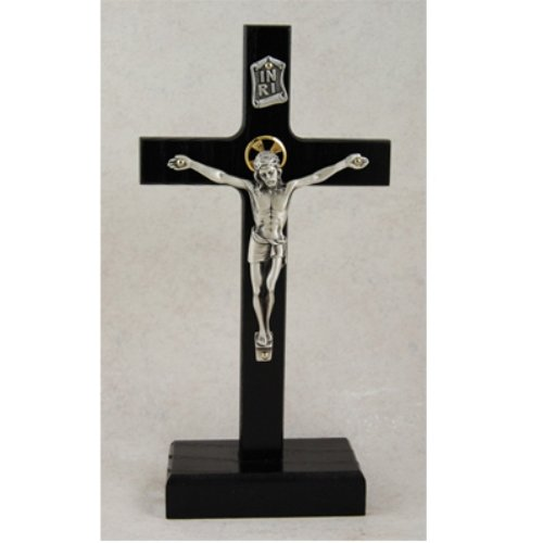 - 8 Inch Black Standing Crucifix Religious Wall Décor Christian Catholic Cross Home