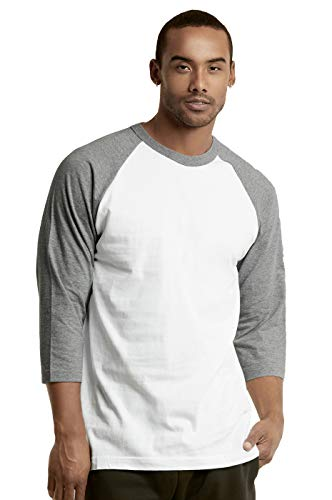 Spring Baseball Shirt - TOP PRO Men's 3/4 Sleeve Casual Raglan Jersey Baseball Tee Shirt (3XL, LTG/WHT)
