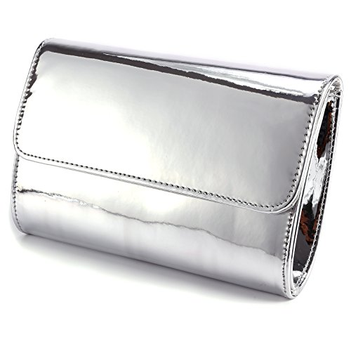 Fraulein38 Designer Mirror Metallic Women Clutch Patent Evening Bag (Silver)