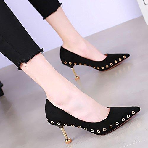feinen All neuen KHSKX flachen 5Cm mit Schuhe in einem 7 weiblichen Schwarz hochhackige wies dokumentarischem Mode Version Match koreanische der Schuhnieten Mund aus Schuhe sexy AZHw0xq4Z