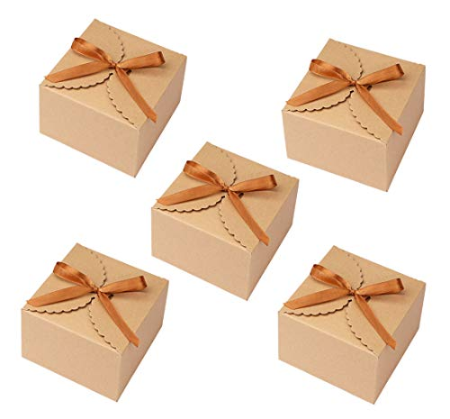 Kraft Paper Candy Favor Boxes, Decorative Treat Box with a Roll of Brown Ribbon Party Wedding Birthday Favor Gift Boxes ()