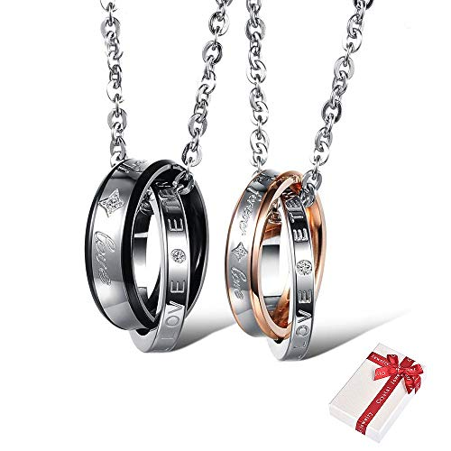 Juland One Pair Titanium Stainless Steel Couple Matching Interlocking Double Rings Valentine Engraved Eternal Love Promise Necklace Sets