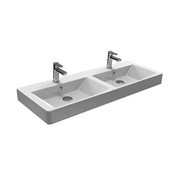 Aqua Bagno Design Keramik Doppel Waschbecken 120 Cm Doppelwaschtisch