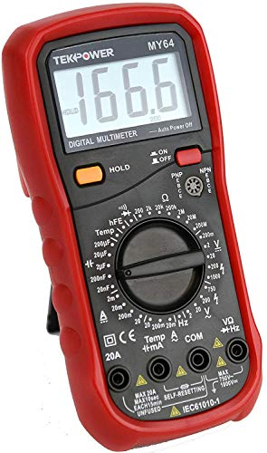 Tekpower MY64 Multimeter With AC & DC Current @ 20A,Capacitance, Frequency,Tmeperature, Transistor Test & ()