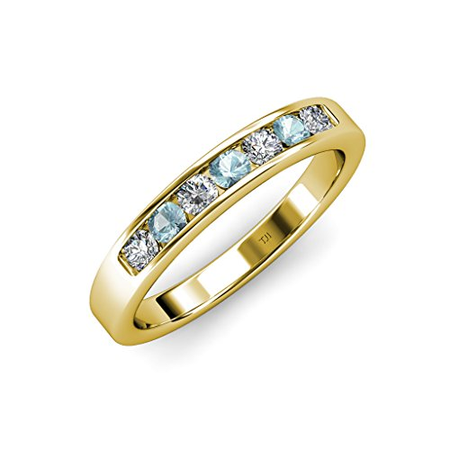 Aquamarine and Diamond(SI2-I1, G-H) 7 Stone Channel Set Wedding Band 0.71 ct tw in 14K Yellow Gold