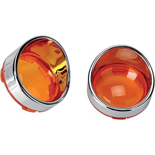 ZYTC Amber Turn Signal Light Lens Cover Lenses Chrome Visor Ring for Harley Dyna Street Glide Road King
