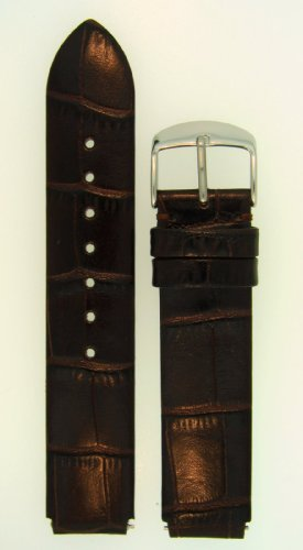 ze 1 18mm Dark Chocolate Brown Alligator Grain Leather Watchband With Spring Bars - by JP Leatherworks ()