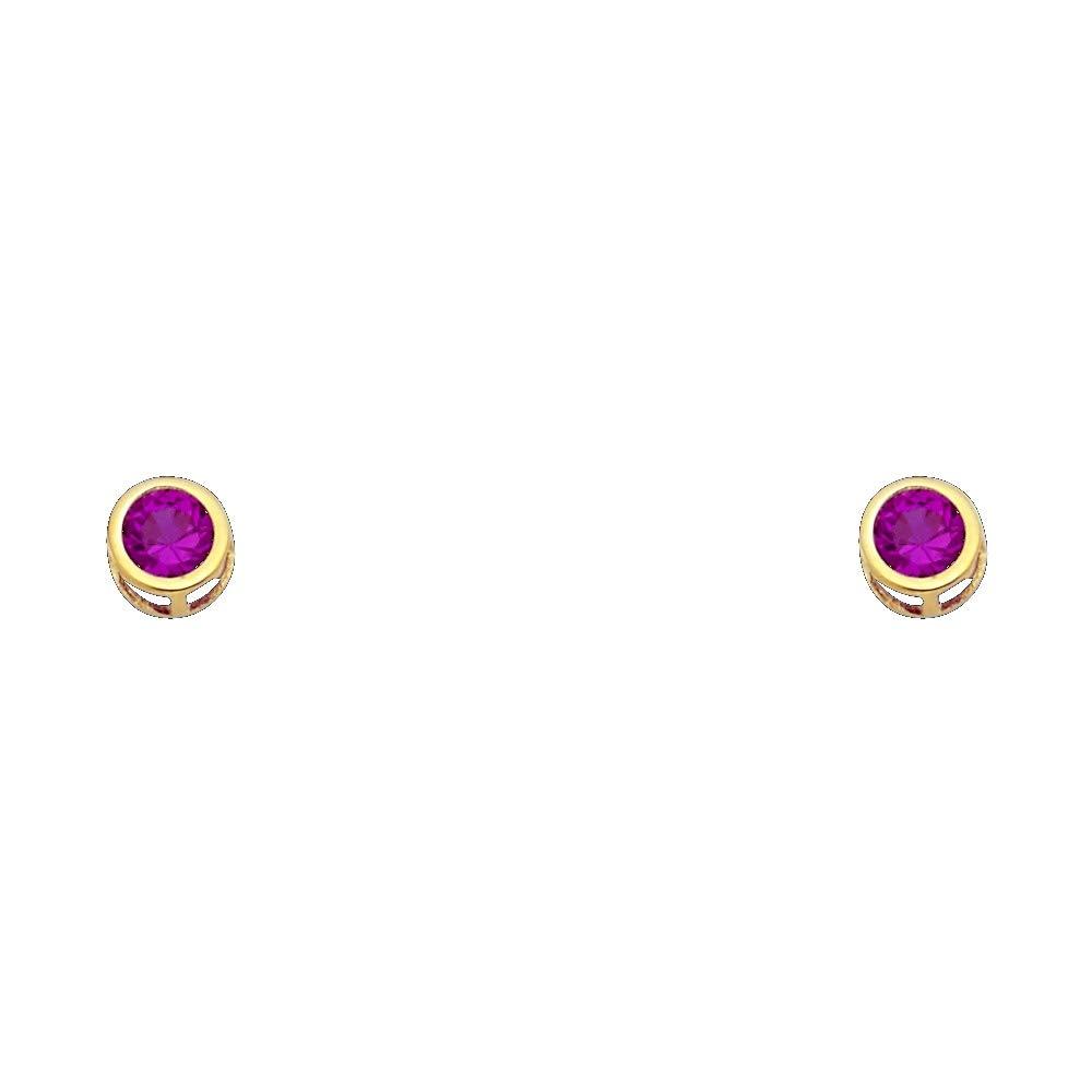 July Wellingsale 14K Yellow Gold Polished 5mm Round Bezel Set Birth CZ Cubic Zirconia Stone Stud Earrings With Screw Back