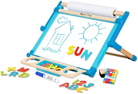 Melissa Doug Deluxe Double Sided Tabletop Easel Arts Crafts 42 Pieces 17 5 H X 20 75 W X 2 75 L Great Gift For Girls And Boys Best For 3