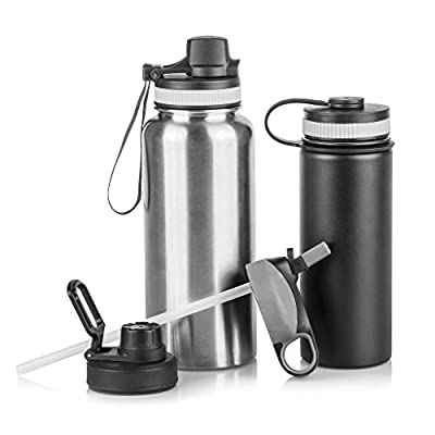 BWM Venture Sports Water Bottles with Assorted Lids: Set of 2 BPA Free Stainless Steel Sport Hydration Bottles with 4 Lid Options -Soccer Water Bottle - Small 20 oz and Large 32 oz
