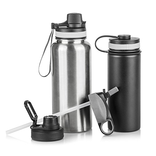 2 Pack Sport Bottles - Sports Water Bottles with Assorted Lids: Set of 2 BPA Free Stainless Steel Sport Hydration Bottles with 4 Lid Options - For  All Sports - Small 20 oz Matte Black Bottle and Large 32 oz Silver Bottle