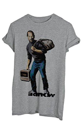 T-Shirt BANKSY APPLE STEVE JOBS - FAMOSI by iMage - Uomo-S-GRIGIO SPORT