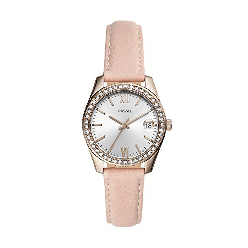 Fossil Women's Stainless Steel Quartz Leather Strap, Pink, 16 Casual Watch (Model: ES4557)