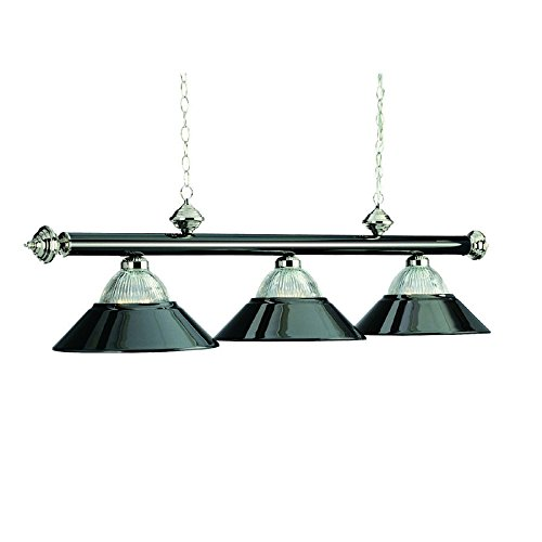 54 Inch 3 Bulb Modern Pool Table Chandelier Light in Antique Brass (Black Chrome)