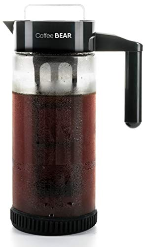 (Cold Brew Coffee Maker By Coffee Bear - Protective No Slip Base - 1.3L / 44oz Heavy-Duty Glass Pitcher with Easy To Clean Reusable Mesh Filter - Dishwasher Safe - Iced Coffee and Tea Brewer)