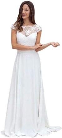 Gecoun Simple Boho Wedding Dress Beach 2020 Lace Bridal Dress Retro Chiffon Wedding Dresses For Women Gec10 At Amazon Women S Clothing Store,Wedding Dress Beetlejuice Winona Ryder