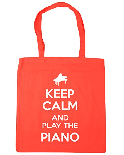 HippoWarehouse Keep Calm and Play the Piano Tote Shopping Gym Beach Bag 42cm x38cm, 10 litres Coral