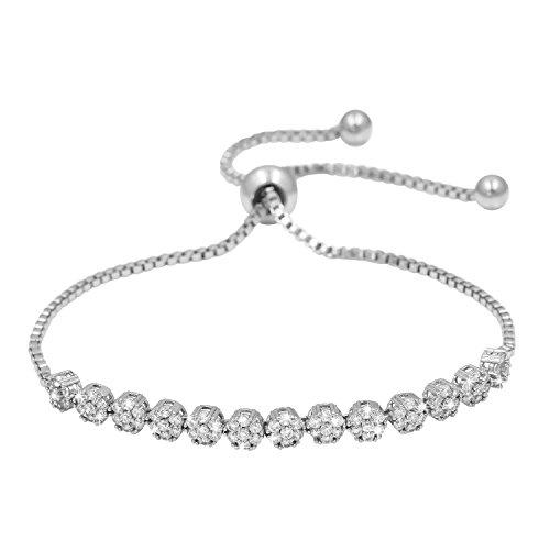 WeimanJewelry CZ Zircon Small Flower Cubic Zirconia Crystal Adjustable Bracelet for Women or Wedding(Silver)