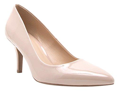 Cambridge Select Womens Closed Pointed Toe Slip-On Mid height Stiletto Heel Pump Nude Patent GHhmU