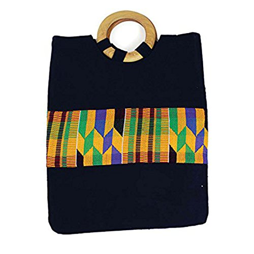 Black Kente Carrying Bag by utopia africa