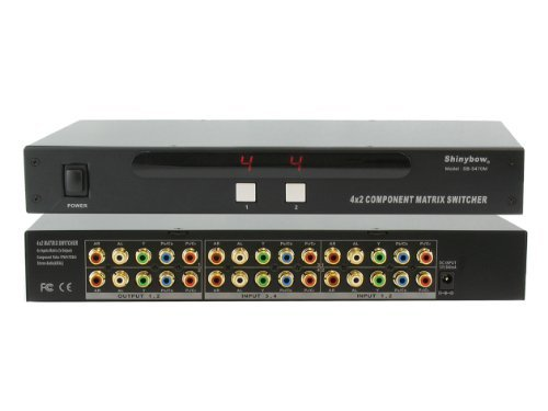 4:2 4x2 Component HD Video + Stereo Analog R/L Audio Matrix Switch Switcher Splitter + Rack Mount Brackets ()