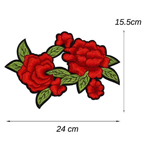 MOPOLIS 40 Styles Embroidered Red Rose Flower Patches Motif Trim iron on sewn Appliques | Design - MG30