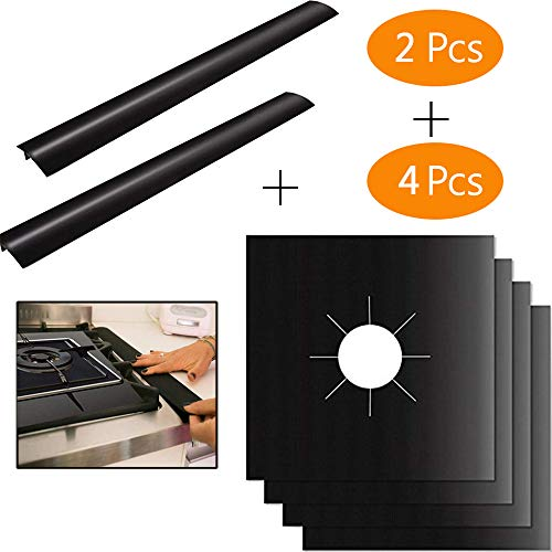4 Pcs Gas Stove Burner Covers + 2 Pcs Silicone Kitchen Stove Counter Gap Cover - Heat Resistant Gas Range Protectors Reusable Dishwasher Safe, Easy to Clean and Cut