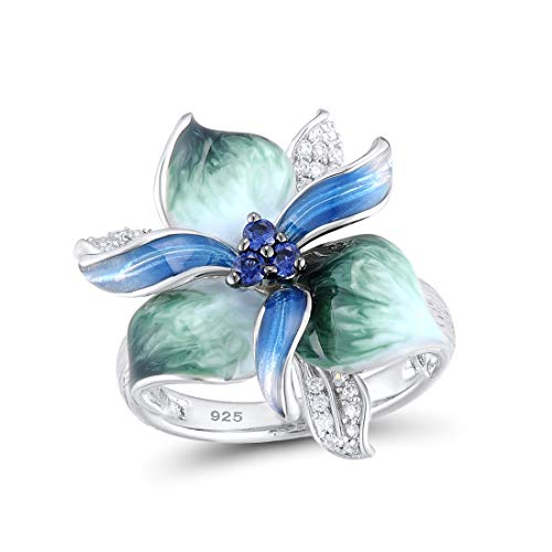 Santuzza 925 Sterling Silver Ring Charming Blue Green Flower White Cubic Zirconia Fashion Jewelry Handmade Enamel (9) Blue Enamel Cubic Zirconia Ring