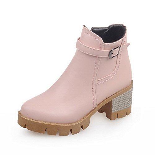 VogueZone009 Damen Mittler Absatz Rein Rund Zehe Weiches Material Reißverschluss Stiefel, Pink, 41