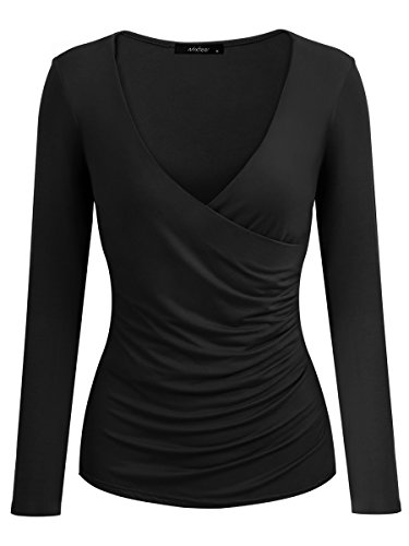 Mixfeer Women's Deep V Neck Long Sleeve Cross Front Ruched Slim Fit T-Shirt Pullover Wrap (Deep V-neck Cross)