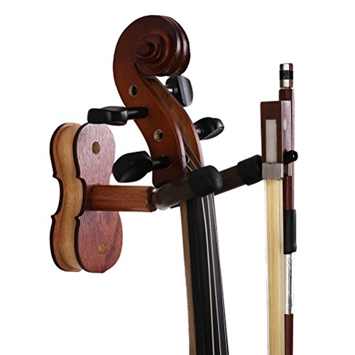 ROSENICE Violin Hanger Home and Studio Wall Mount Hanger(Red Wood Color) by ROSENICE