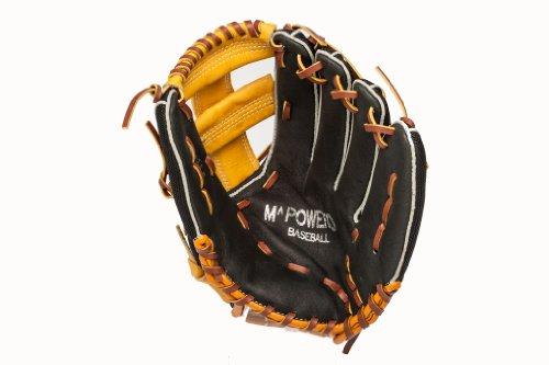 Mpowered Baseball Youth Ultra Lite Single Post Baseball Glove, Black and Tan, Right Hand Throw