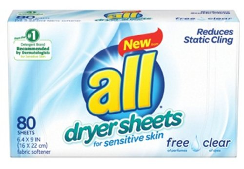 all Fabric Softener Dryer Sheets for Sensitive Skin, Free Clear, 80 Count (Static Leave Free)