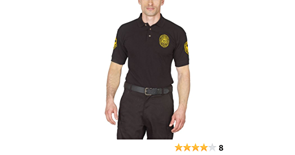 SECURITY POLO SHIRT DELUXE NEW 100/% COTTON BLACK WITH GOLD LETTERS Size Large