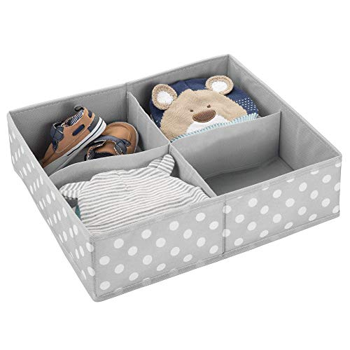 mDesign Soft Fabric Dresser Drawer and Closet Storage Organizer, 4 Section Divided Bin for Child/Kids Room, Nursery, Playroom, Bedroom - Fun Polka Dot Print - Gray/White