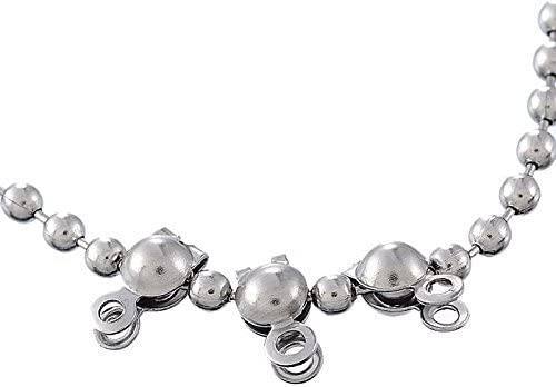 HOUSWEETY Stainless Steel Jewelry Finding 50pcs Silver Tone Calottes End Crimps Beads Tips Fit Ball Chain 7.7mmx7.4mm