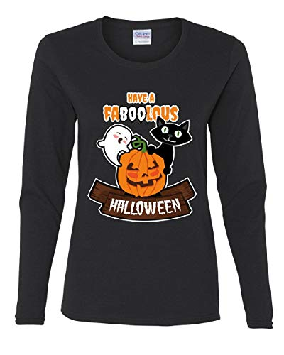 Have Faboolous Halloween Women's Long Sleeve Tee Funny Ghost Pumpkin Black Cat Black 2XL
