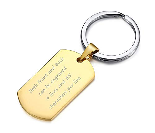 VNOX Customize Jewelry Gold Plated Stainless Steel Army Dog Tag Keychain Keyring for Men Boy,Gift for Dad
