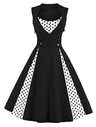 Killreal Women's Sleeveless Vintage Rockabilly Polka Dot Cocktail Party Dress Black Small