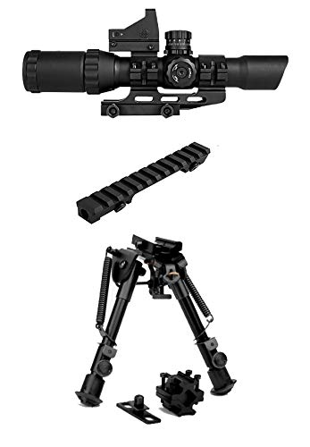 M1SURPLUS Tactical Kit for Ruger PC4 PC9 Ranch Rifles Includes Trinity 1-4x28 CQB Optic with Micro Dot Sight (Illuminated Reticle) + Bolt On Scope Mount + Quick Deploy Compact Bipod