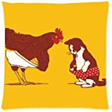 Funny Rooster and Cat Funny Art Zippered Pillow Protector 18X18 inch (one side)