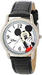 Disney Men's W000856 Cardiff Mickey Mouse Black Leather Strap Watch