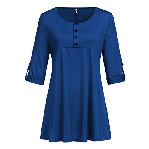 (Gopeak Plus Size T Shirts for Women Pure Color Half Sleeve Tunics Tops Casual Loose Button Up Scoop Neck Flowy Blouse Blue)