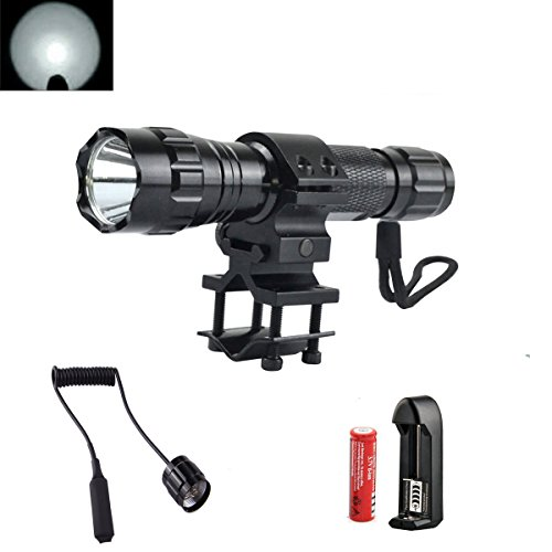 High Power 1000Lm Flashlight Set, Bright Tactical Light Torch Lamp with Pressure Switch, Rechargeable Battery, Charger, Mount for Camping Cycling Emerency Use -